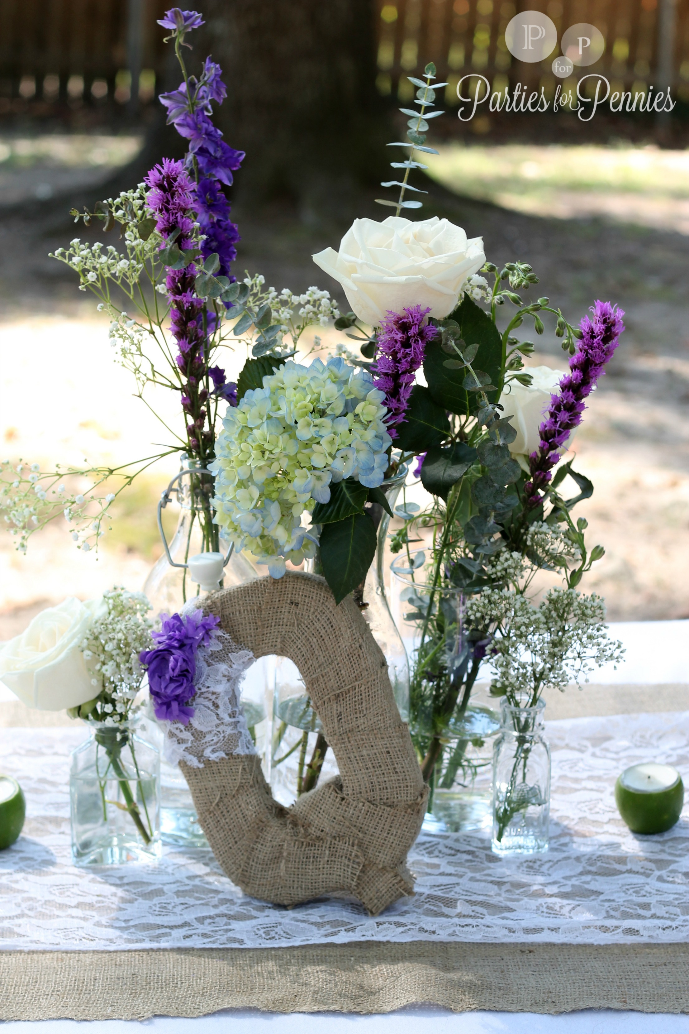 Glass bottle wedding centerpiece quotes
