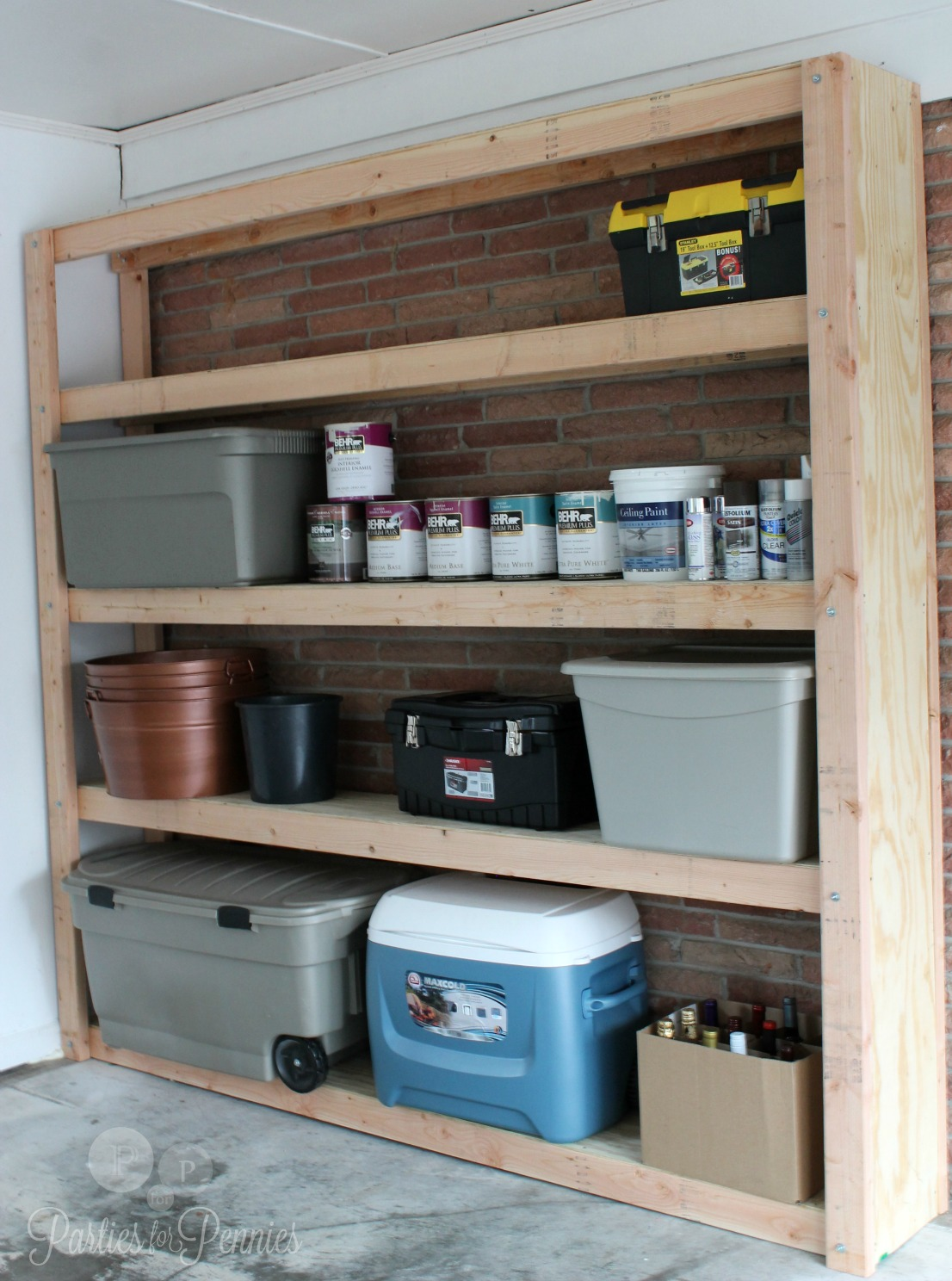 How to Build Shelves for your Garage - Parties for PenniesParties for ...