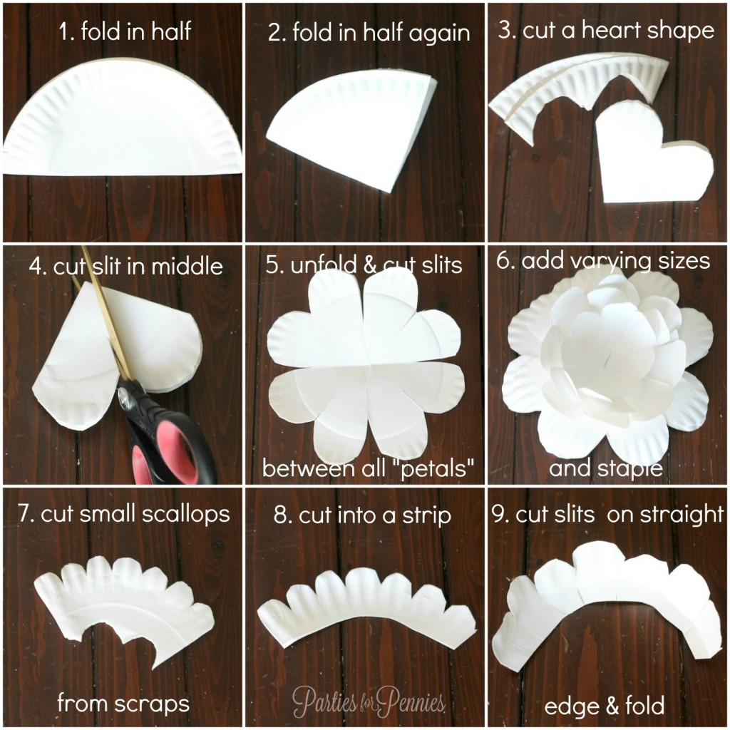 How to make a paper plate flower by PartiesforPennies.com #papercrafts #paperflowers #flowers #partydecorations