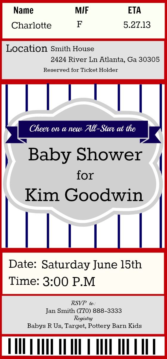 baseball themed party ideas - parties for pennies, Baby shower invitations