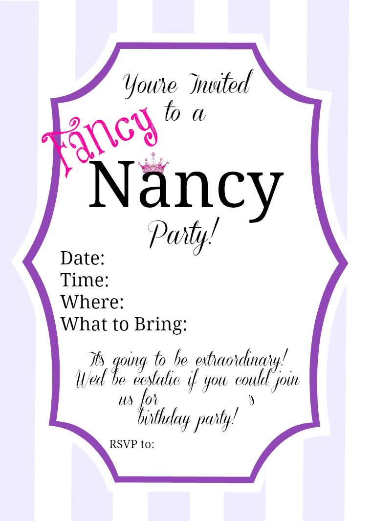 Fancy Nancy Party Inspiration Parties for Pennies – Fancy Party Invitation
