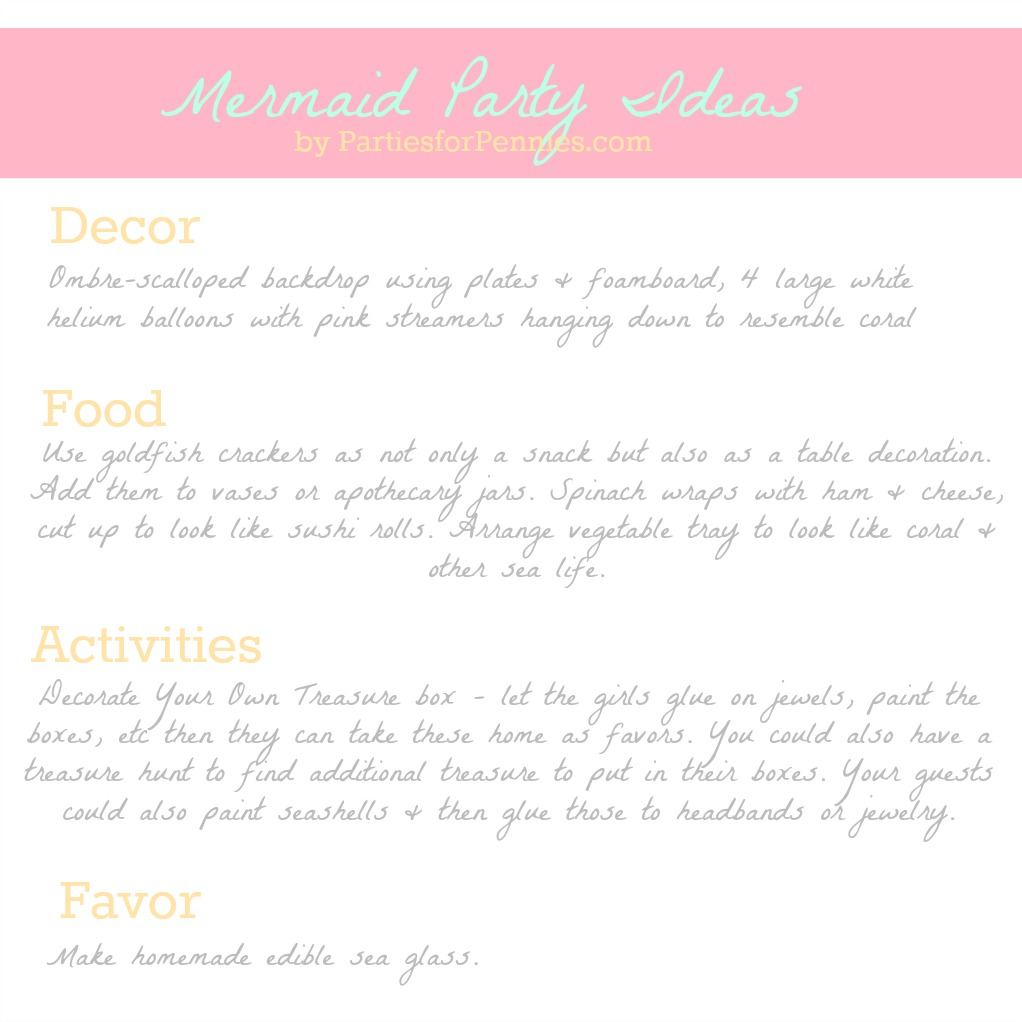 Mermaid Party Ideas by PartiesforPennies.com