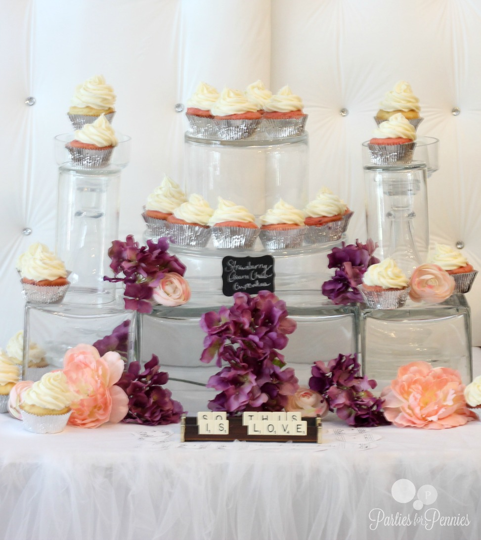 Princess Bridal Shower Cupcake Glass Castle Display by PartiesforPennies.com