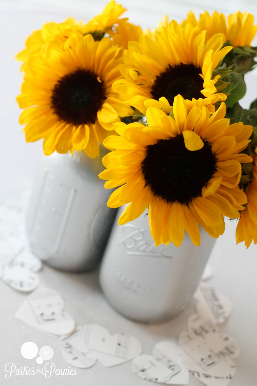 Princess Bridal Shower - Mason jar sunflowers