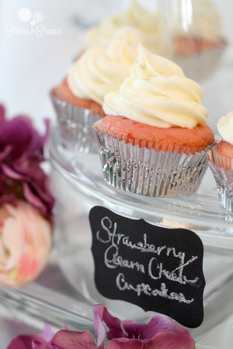 Princess Bridal Shower - Strawberry Cupcakes with Cream Cheese Icing by PartiesforPennies.com