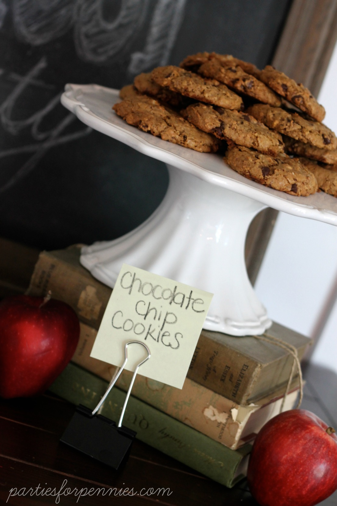 Back to School Party - chocolate chip cookies by PartiesforPennies.com