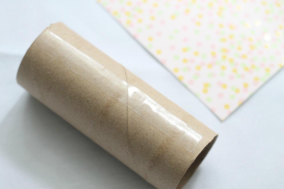 DIY Confetti Popper - securing scrapbook paper