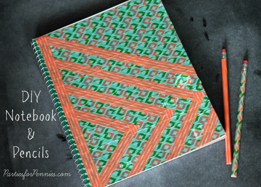 DIY Notebook and Pencils by PartiesforPennies.com