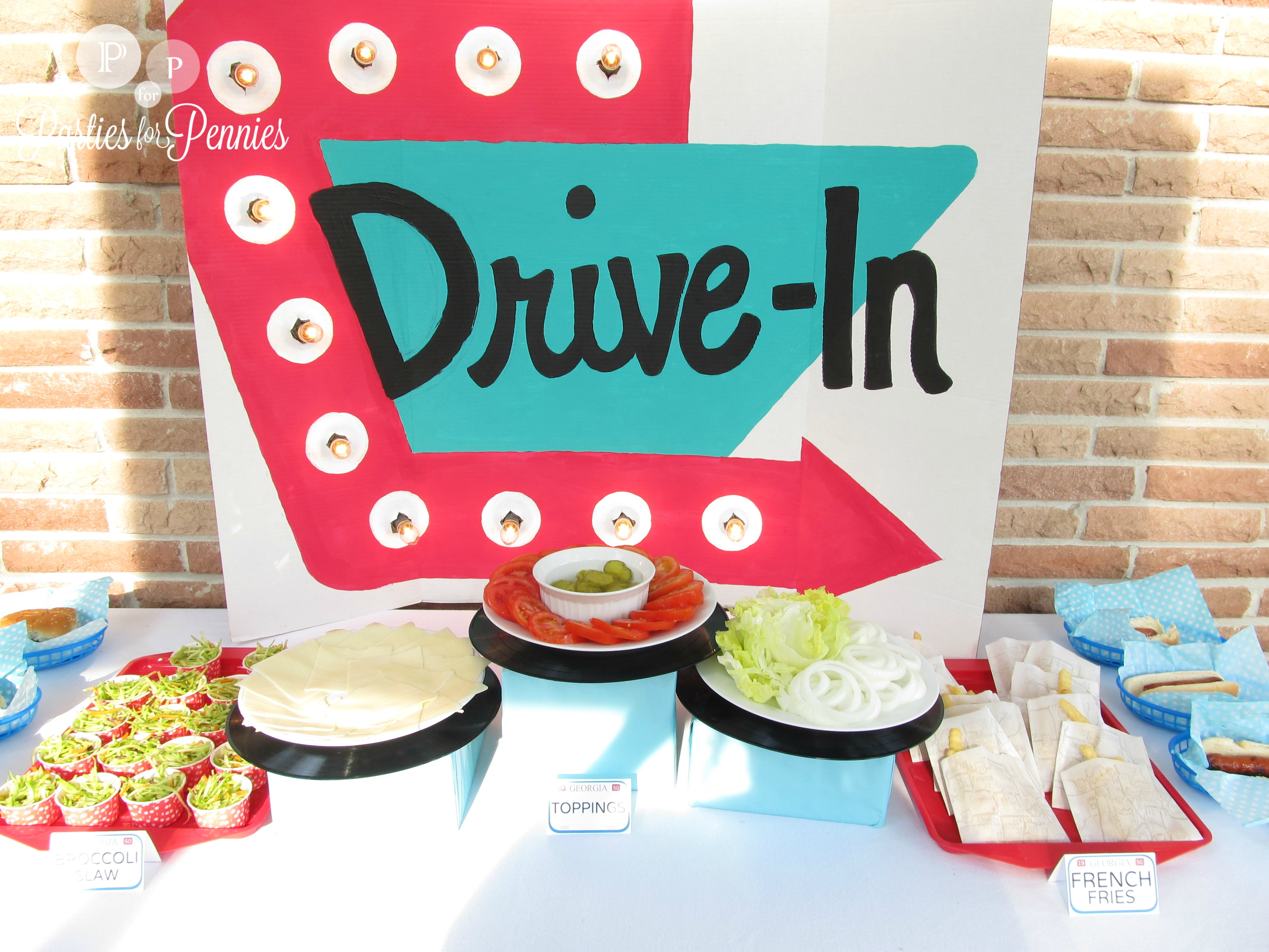 Drive In Party Backdrop by PartiesforPennies.com