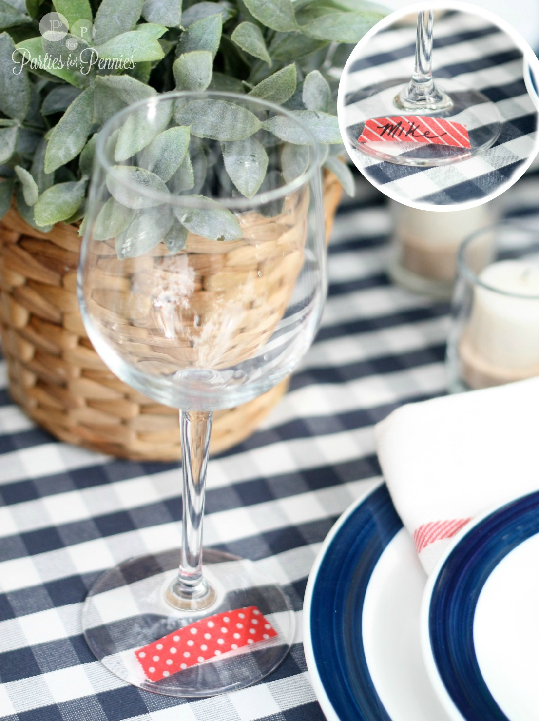 Labor Day Party by PartiesforPennies.com washi tape glass markers