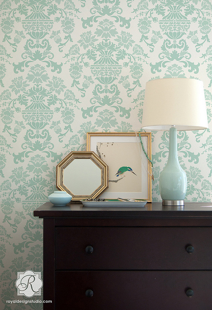 Encantada Damask Stencil from Royal Design Studio