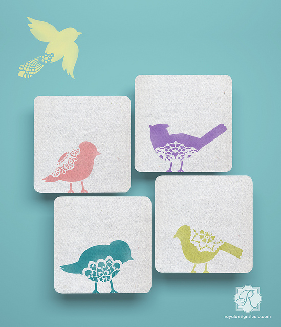 Sweet Tweets Lace Bird Stencil from Royal Design Studio