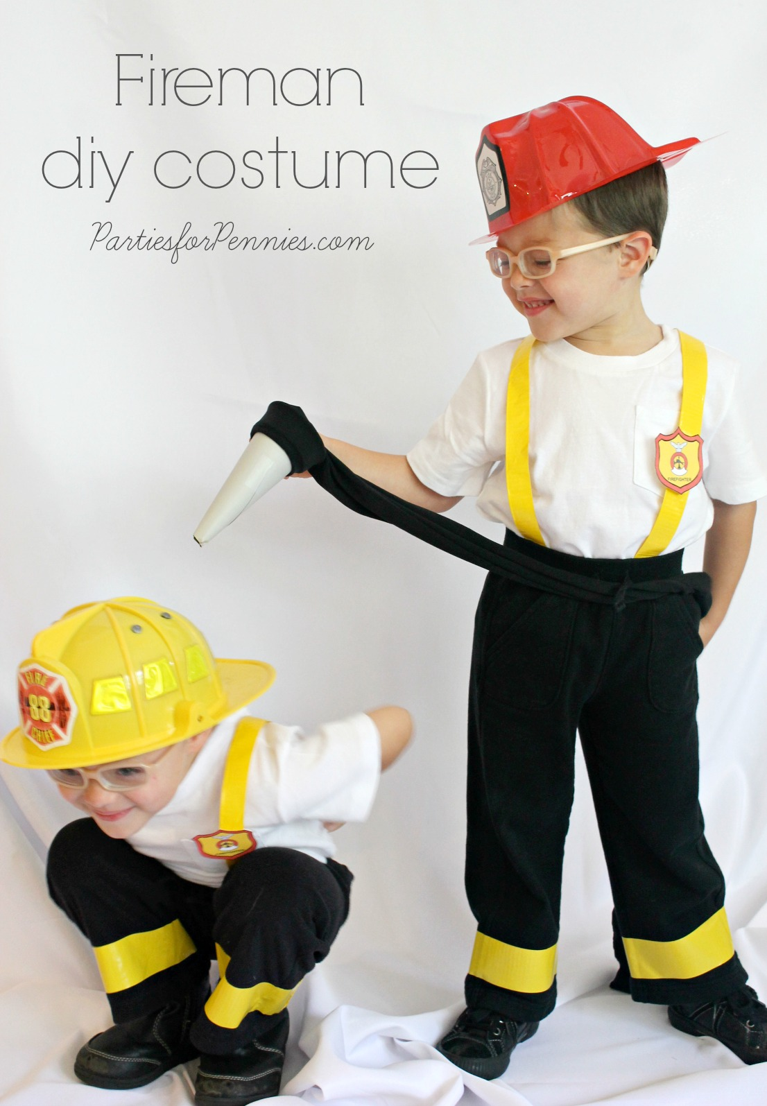 DIY Costume - Firemen by PartiesforPennies.com