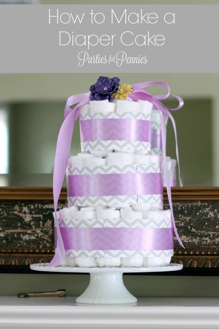 How to Make a Diaper Cake by PartiesforPennies.com