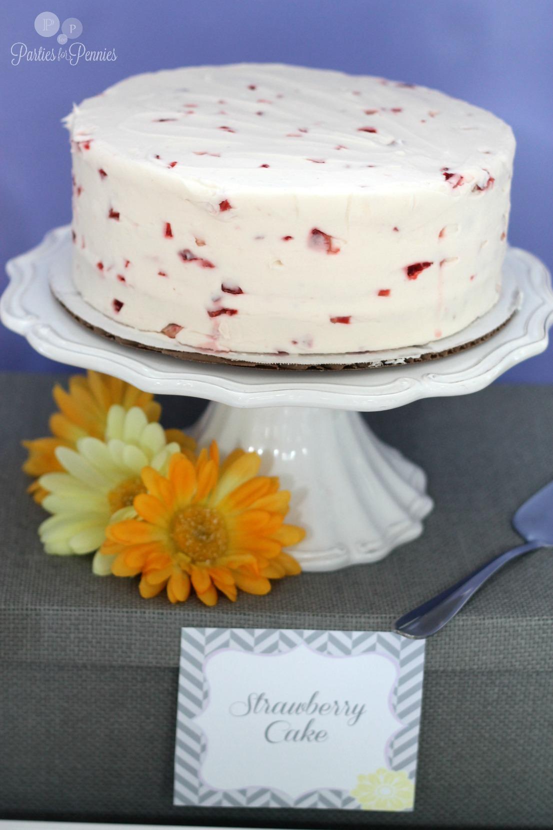 Purple Yellow & Gray Baby Shower - Strawberry Cake
