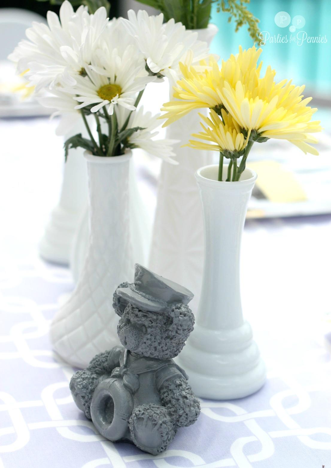 Purple, Yellow & Gray Baby Shower - Centerpiece | PartiesforPennies.com