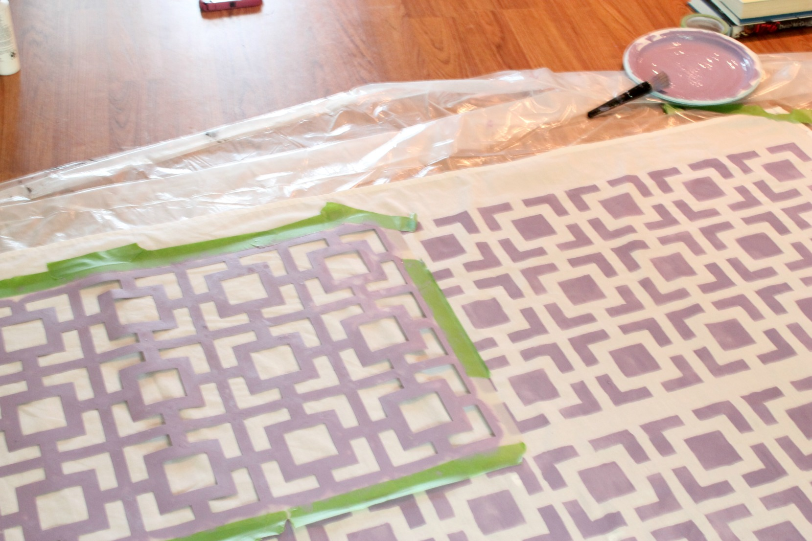 Stenciled Tablecloth - Process