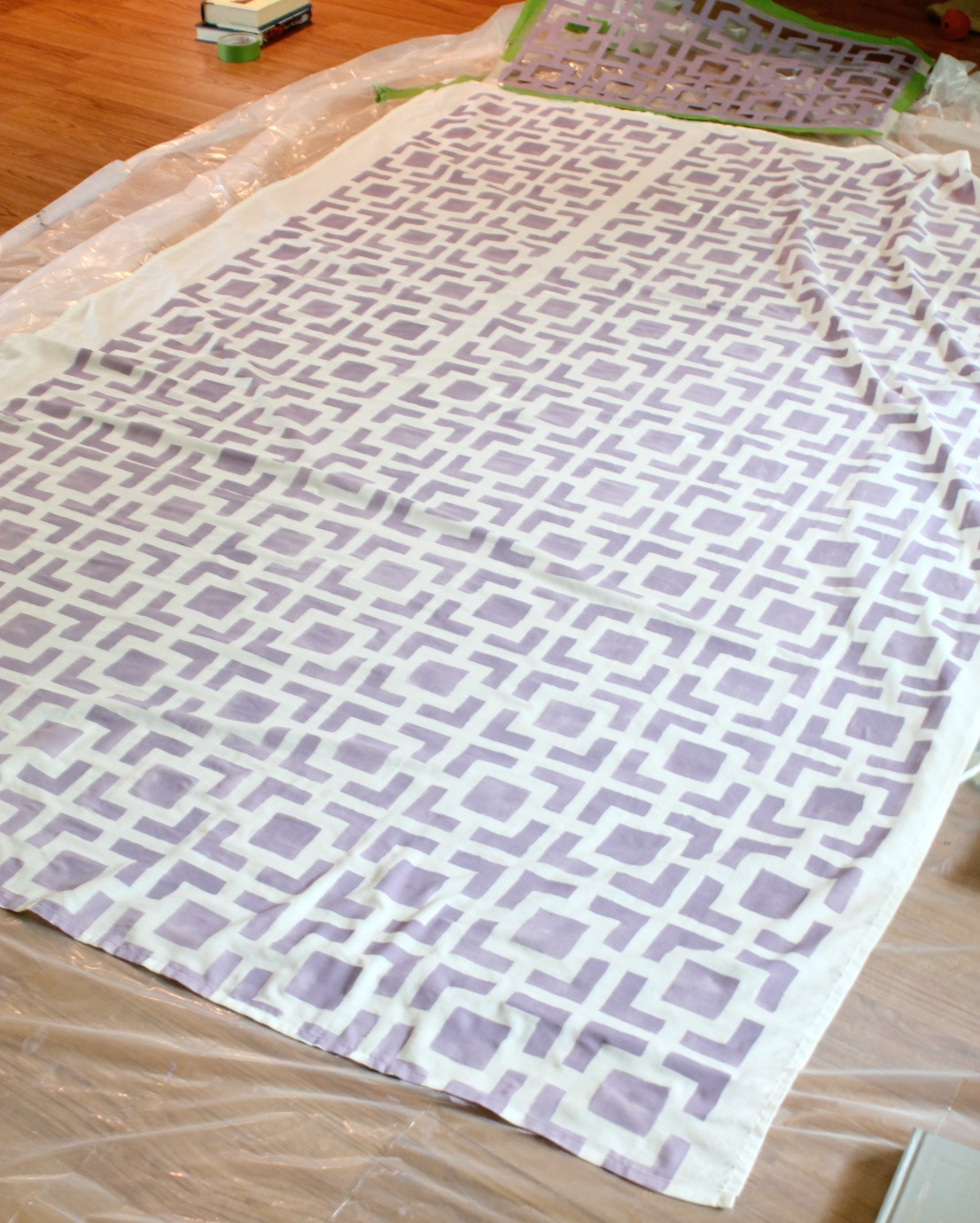 Stenciled Tablecloth - finished