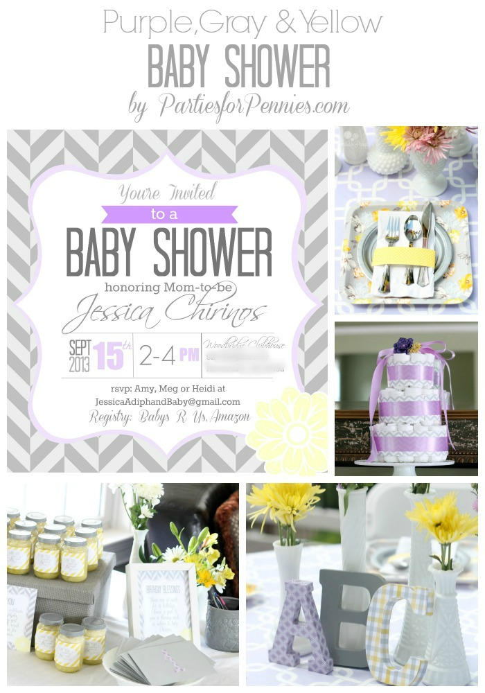 Baby Shower - Purple, Gray & Yellow by PartiesforPennies.com