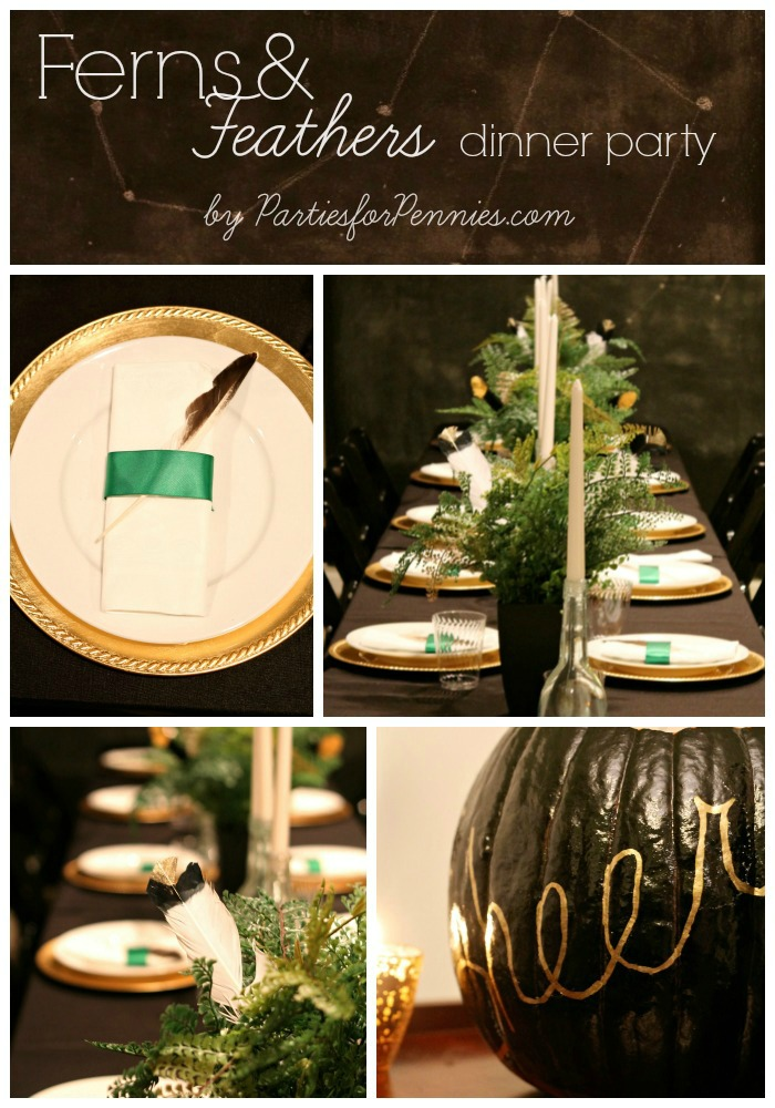 Ferns & Feathers Dinner Party by PartiesforPennies.com