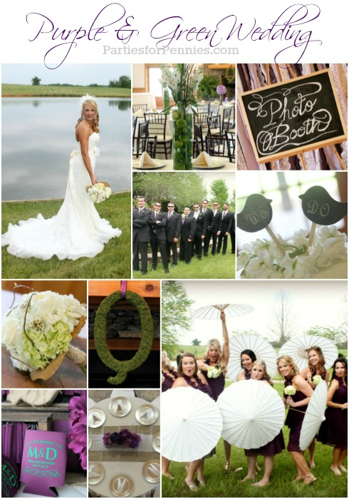 Purple & Green Wedding on PartiesforPennies.com