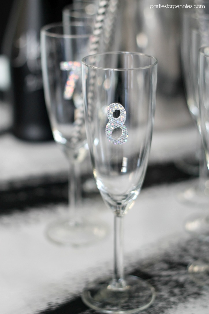 New Years Eve Party - Numbered Champagne Glasses by PartiesforPennies.com
