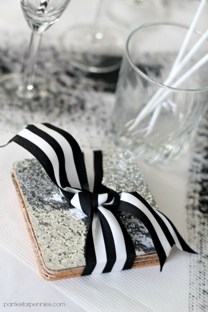 New Years Eve Party - Sequin Coasters by PartiesforPennies.com