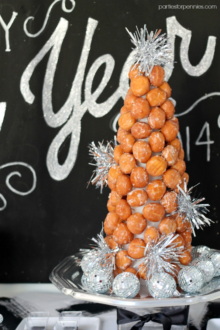 New Years Eve Party - donut tree by PartiesforPennies.com