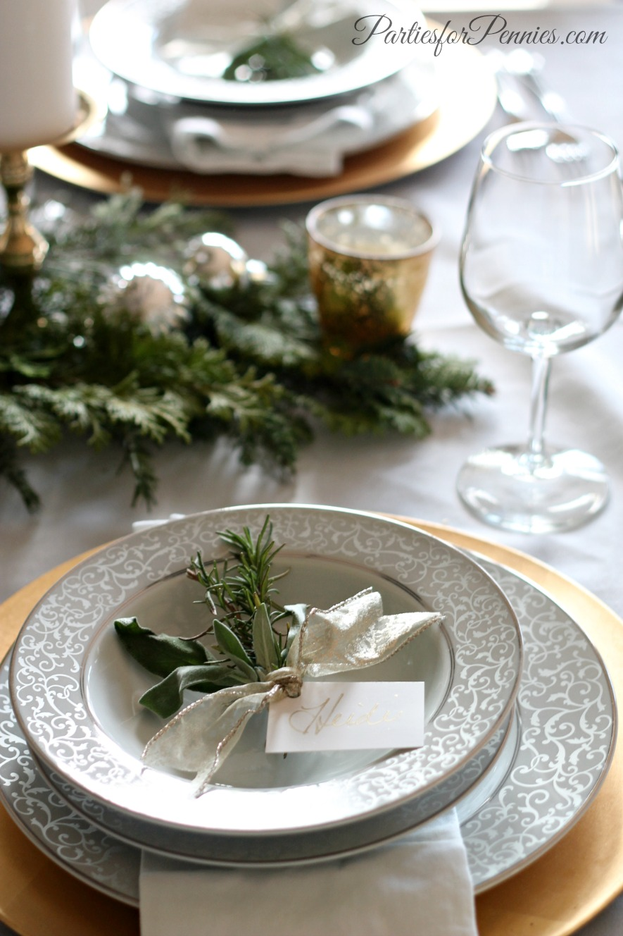 Wintry TableSetting by PartiesforPennies.com