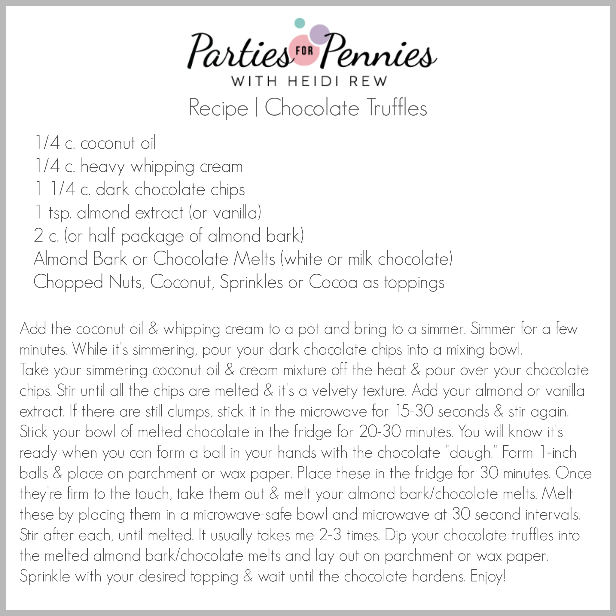 Homemade Chocolate Truffles - Recipe Card