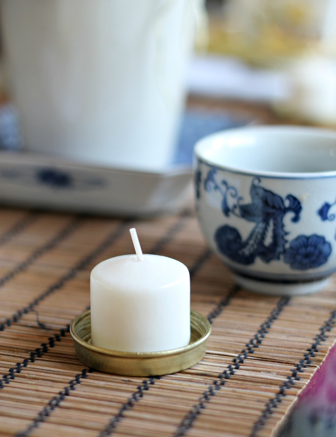 Valentines Day Asian Inspired Party - jar lid tea light holder