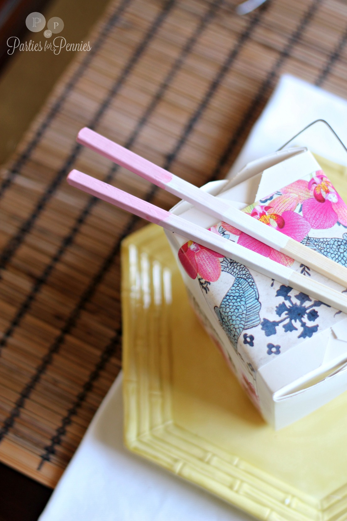 Valentines Day Asian Inspired Party - ombre chopsticks by PartiesforPennies.com