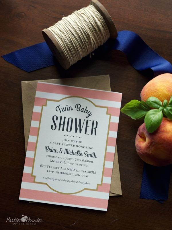 Brewery Baby Shower | PartiesforPennies.com | #babyshower #vintagepreppy #brewery #navy #peach #pink #invitation