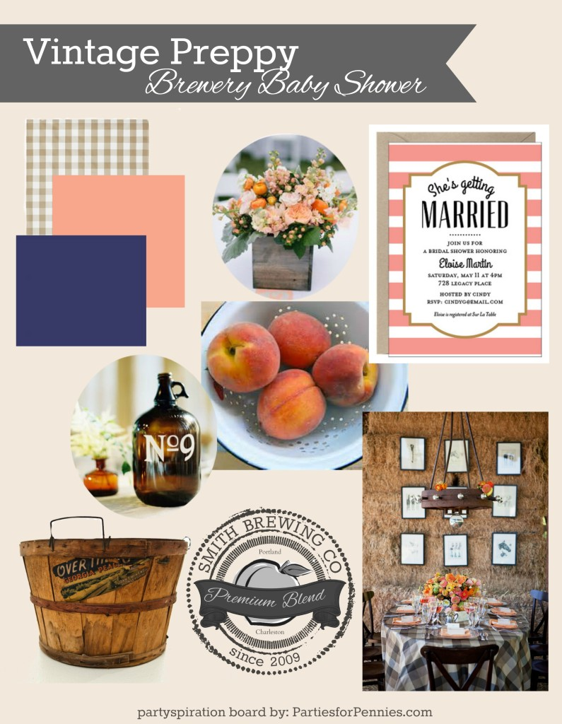 Brewery Baby Shower | PartiesforPennies.com | #vintagepreppy #vintage #preppy #babyshower #brewery #peach #navy