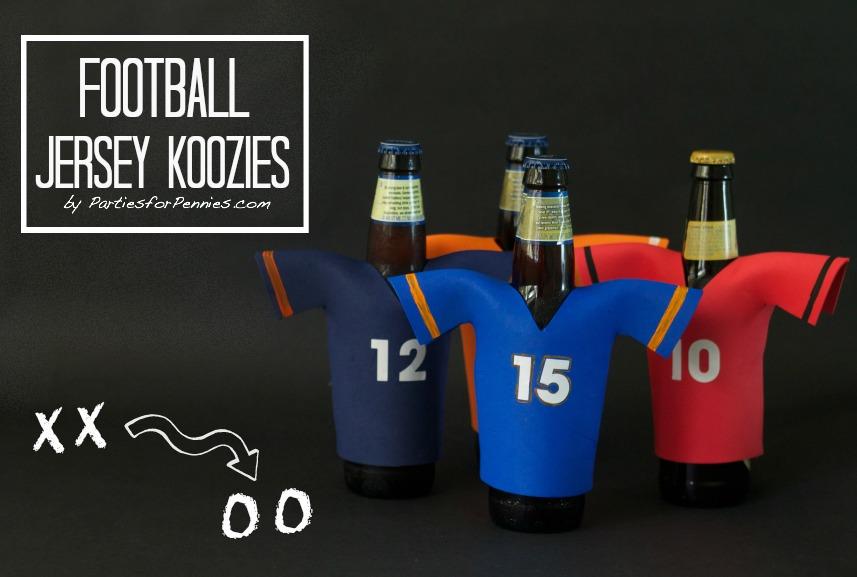 DIY Football Jersey Koozie | PartiesforPennies.com | #football #tailgate #diy #superbowl #collegefootball