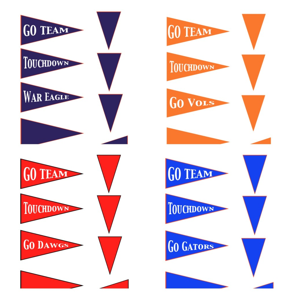 Football Pennant Printables | PartiesforPennies.com | #football #SEC #tailgating #partyplanning #printables
