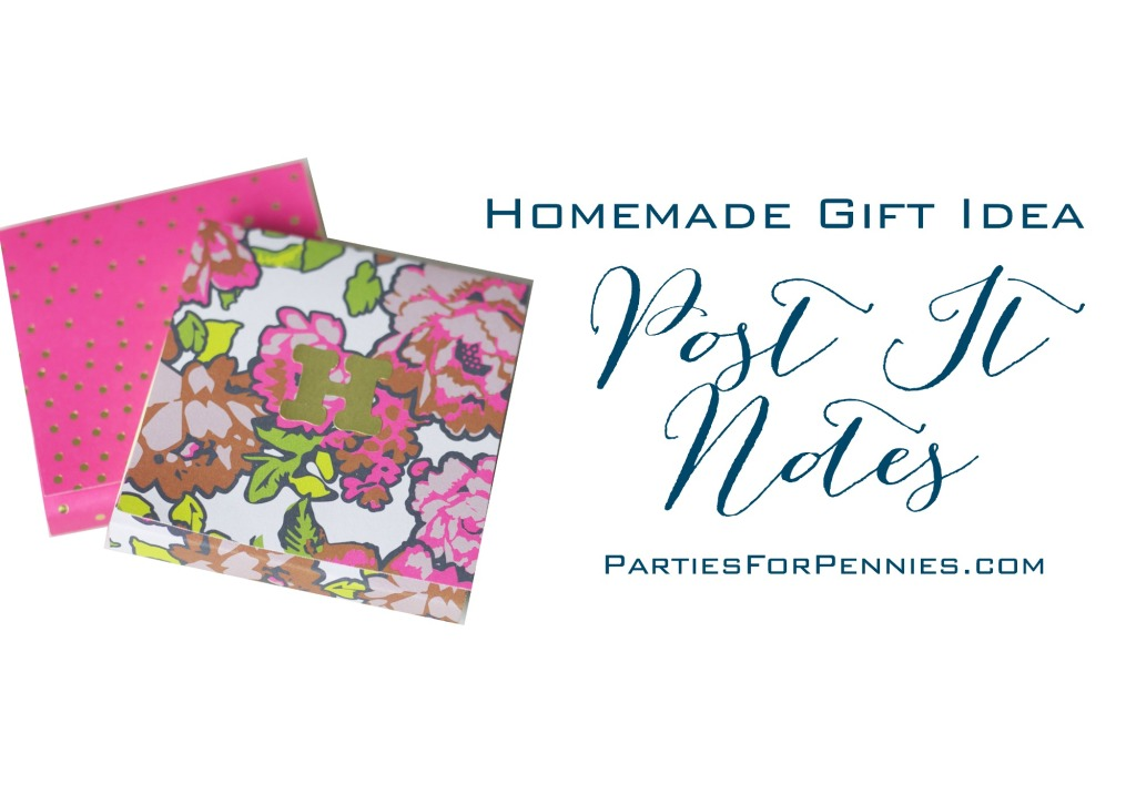 Homemade Gift Idea | Personalized Post It Notes | PartiesforPennies.com | #homemadegift #diy #teachergift #christmas #holiday