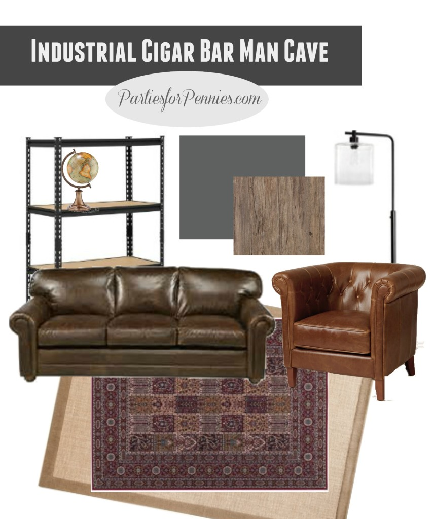 Mohawk Floors Me | Industrial Cigar Bar Man Cave Inspiration | PartiesforPennies.com