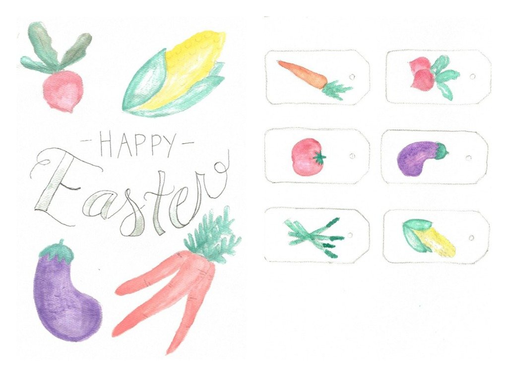 easter party, farm party, farmers market theme, watercolor tags, printable tags, watercolor vegetables