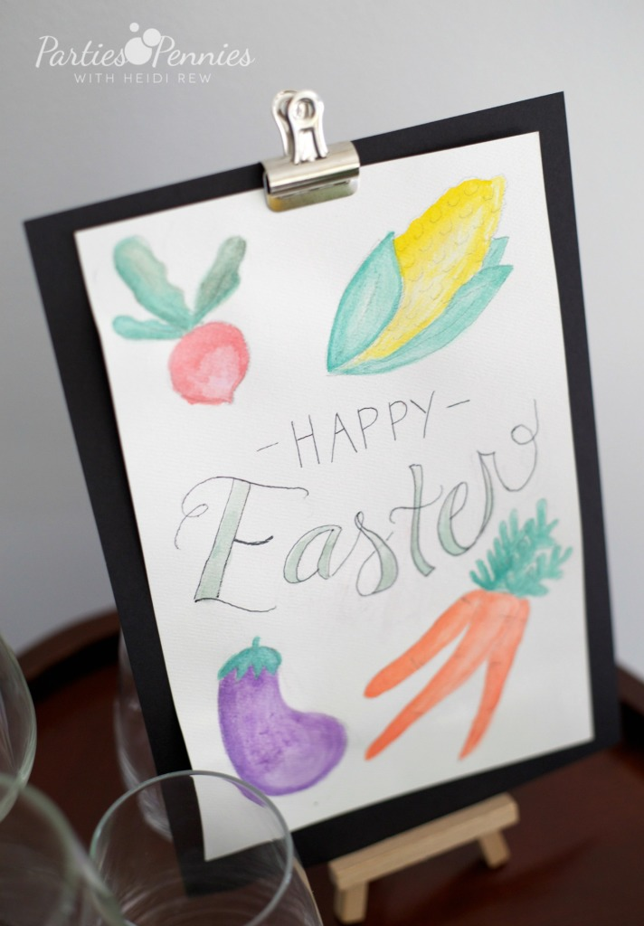 easter party, farm party, farmers market theme, watercolor sign, free printable sign, printable watercolor sign, watercolor vegetables, easter sign,
