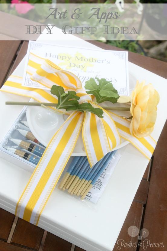 Art NIght Gift Idea | PartiesforPennies.com | #diy #gift #homemade #mothersday #art