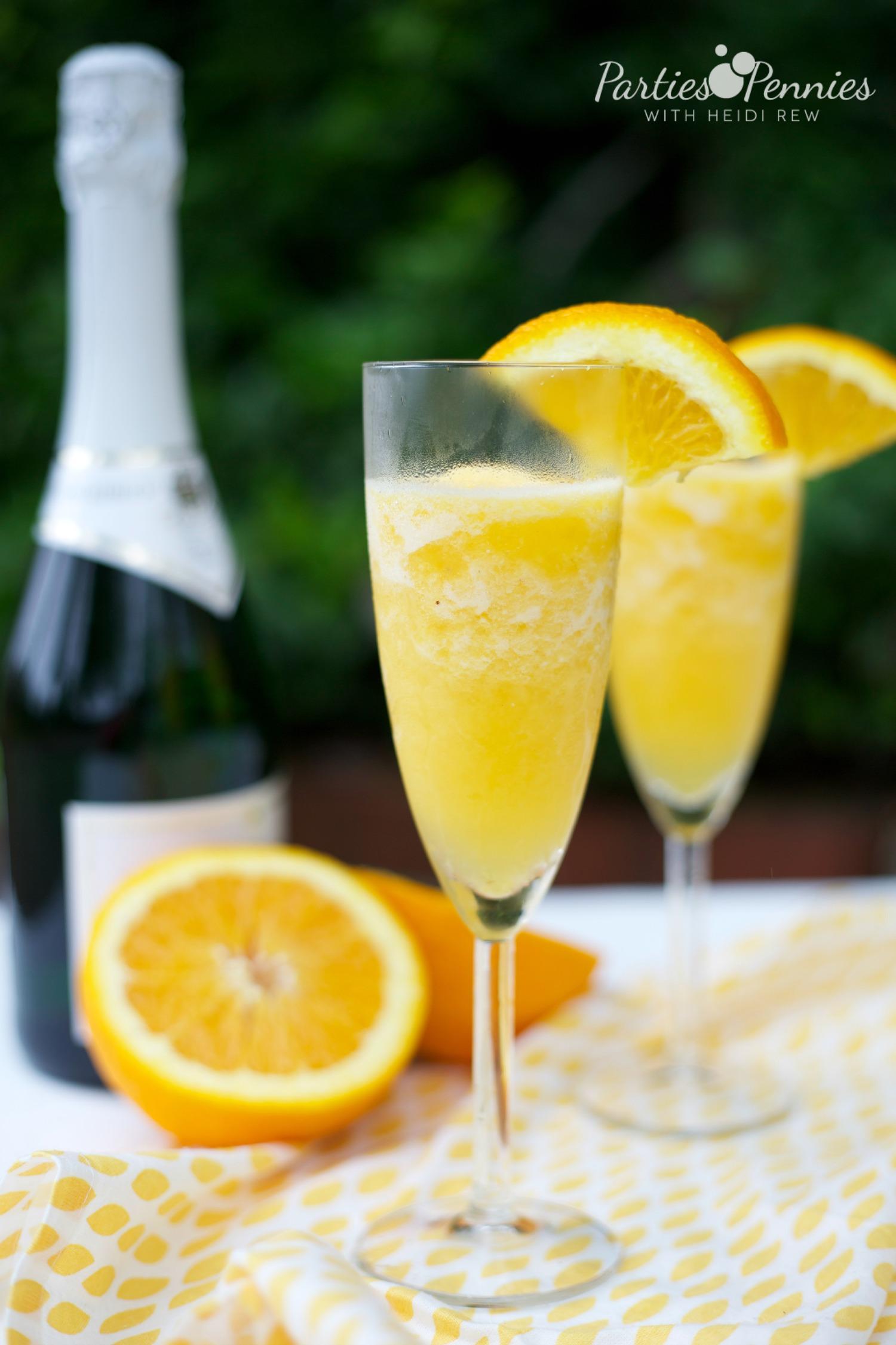 How to Make a Frozen Mimosa | PartiesforPennies.com | #recipe #videotutorial #drink #brunch