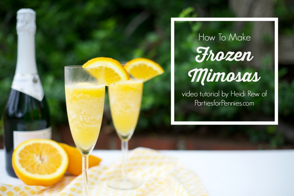 How to Make a Frozen Mimosa | PartiesforPennies.com | #recipe #videotutorial #drink #brunch
