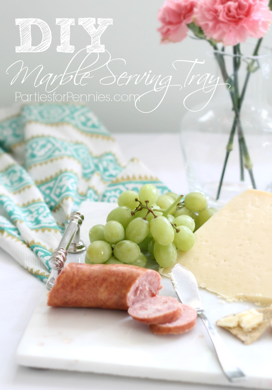 DIY Marble Serving Tray | PartiesforPennies.com | #diy #gift #homemade #marbletray