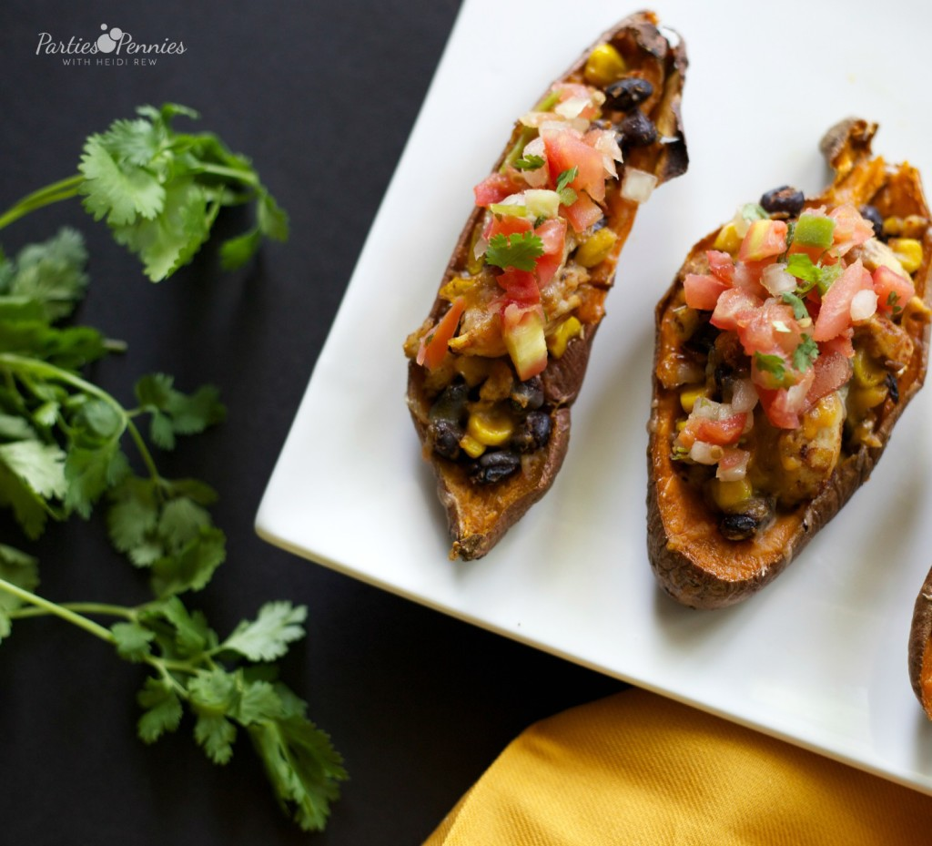 Mexican Chicken Sweet Potato Skins Recipe | PartiesforPennies.com | NatureRaised Farms Chicken | #SCNRF #PMedia #ad #recipe #chicken #sweetpotato #glutenfree
