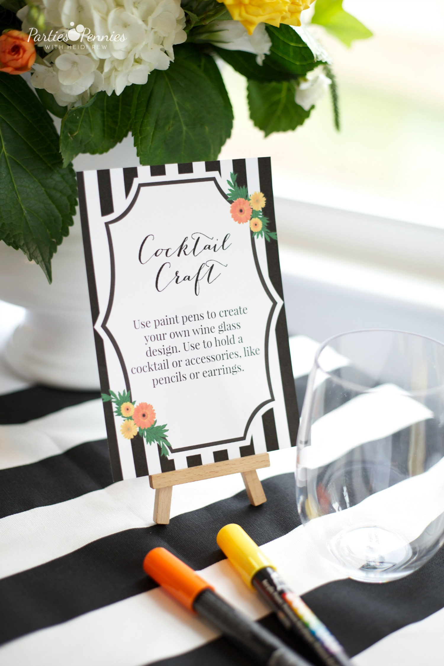 Black White and Citrus Baby Shower | PartiesforPennies.com | Mamas & Mocktails #babyshower #bridal shower #blackandwhite