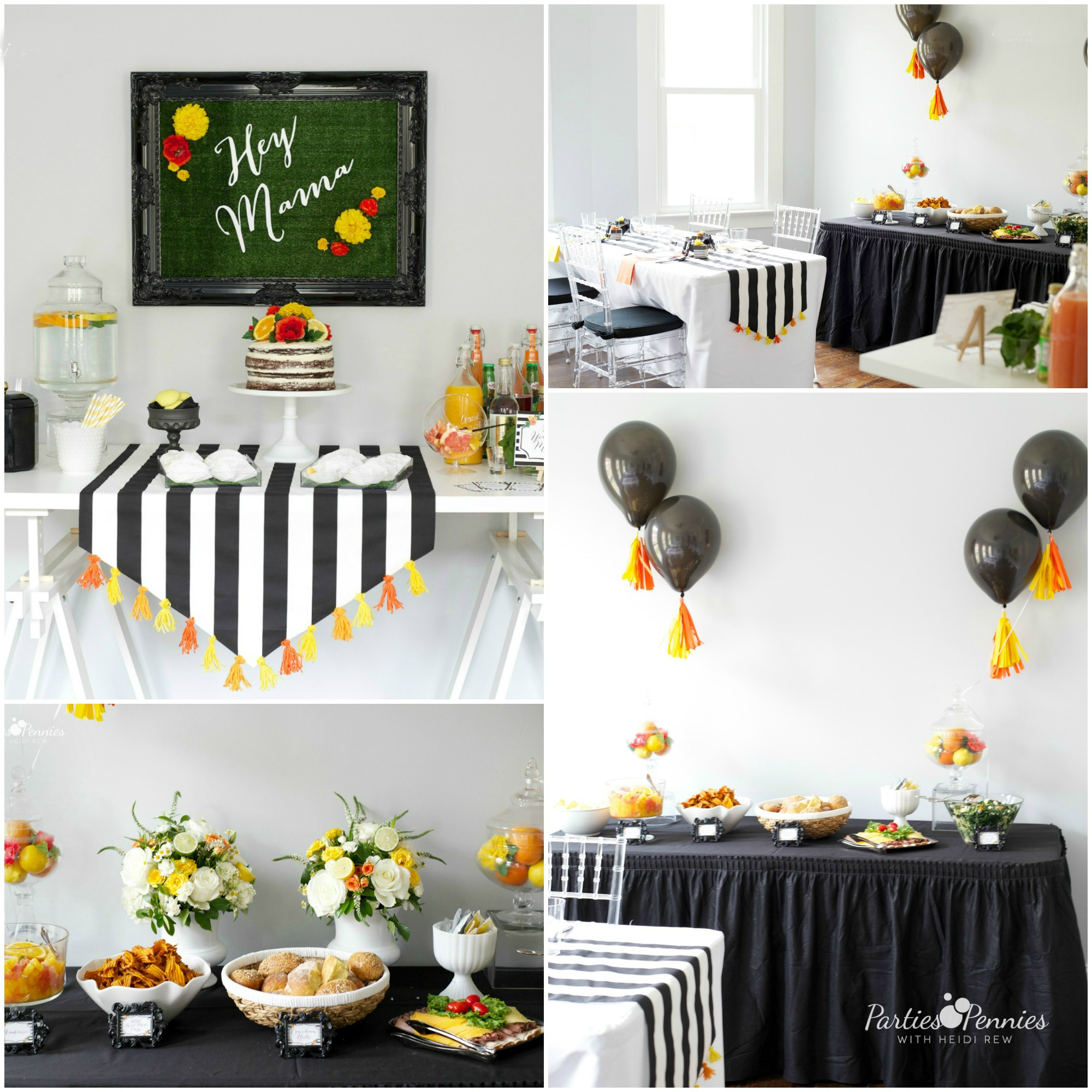 Black White and Citrus Baby Shower | PartiesforPennies.com | Mamas & Mocktails #babyshower #bridalshower #blackandwhite