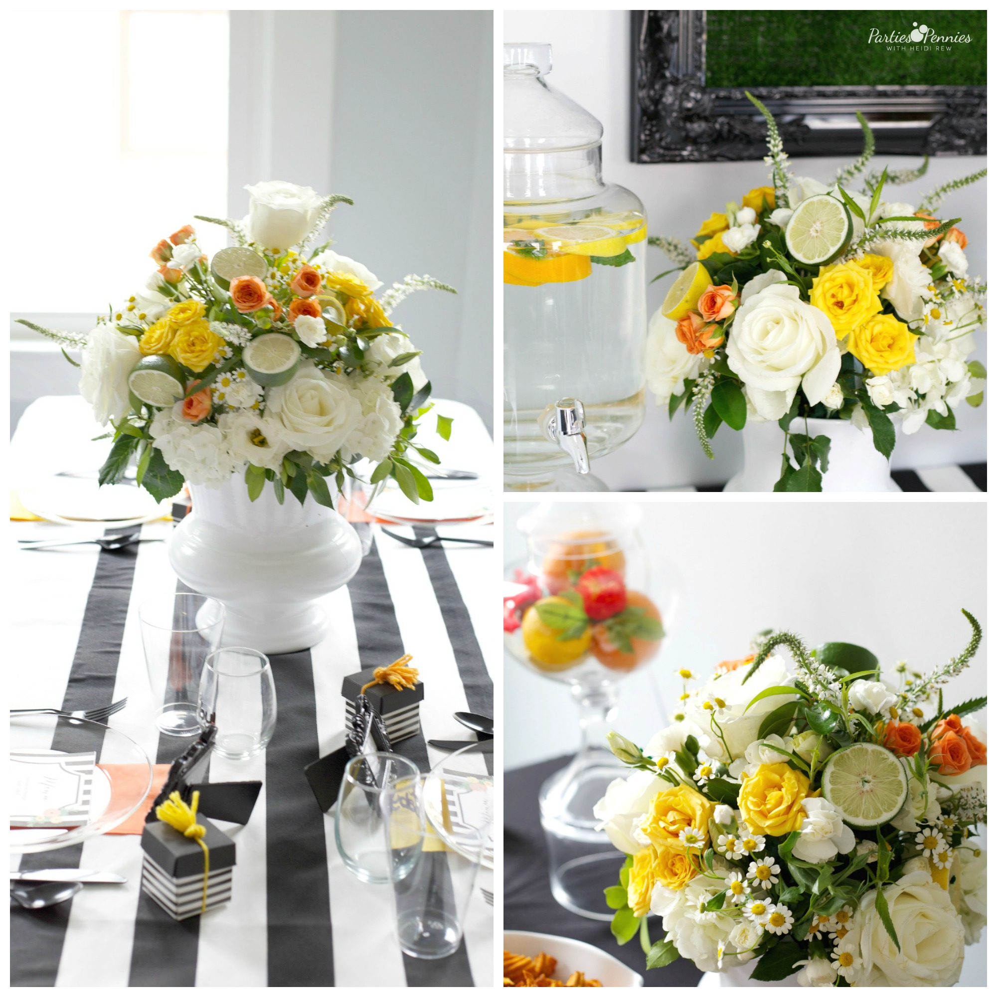Black White and Citrus Baby Shower | PartiesforPennies.com | Mamas & Mocktails #florals #citrusarrangement #sisteractdesigns