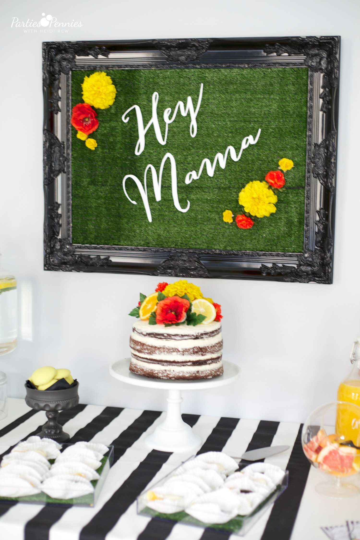 Black White & Citrus Party | #babyshower #bridalshower #backdrop #decoration
