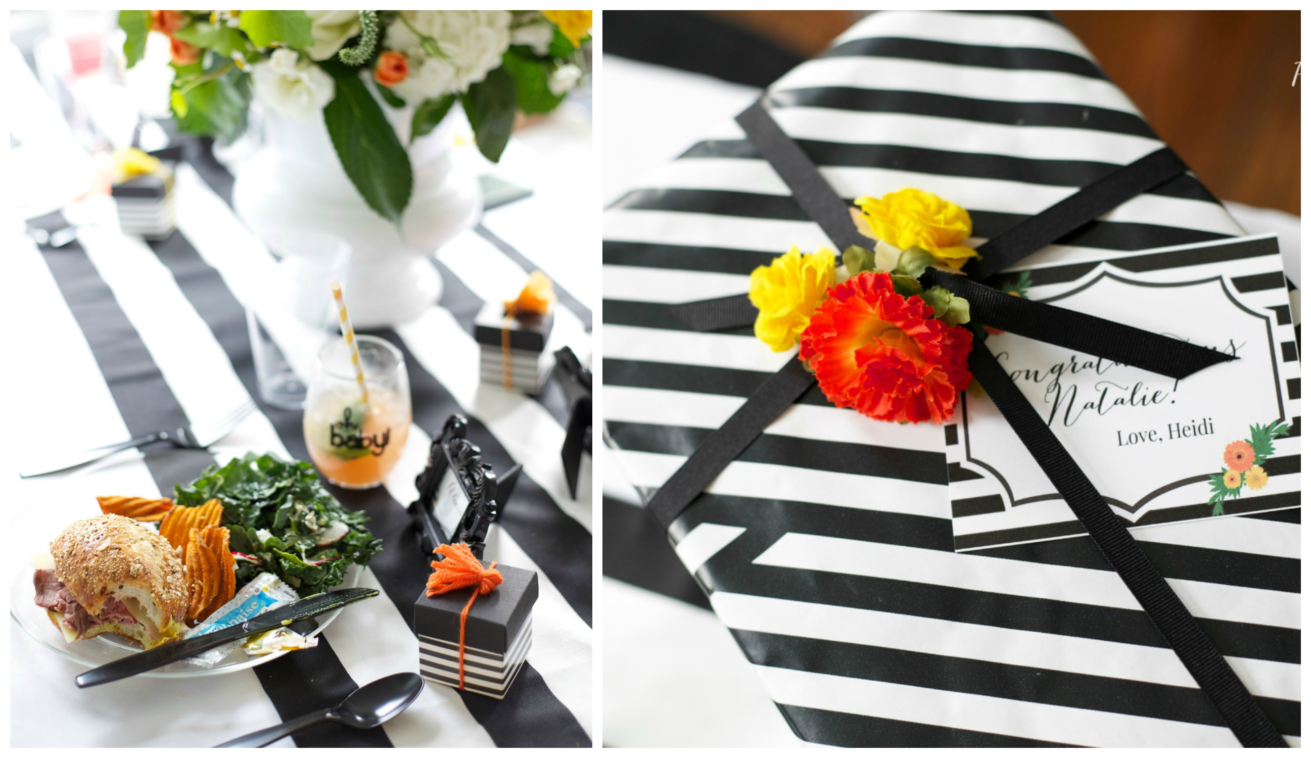 Black White and Citrus Baby Shower | PartiesforPennies.com | Mamas & Mocktails #babyshower #bridal shower #blackandwhite